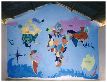 Map of the world mural project in Uganda