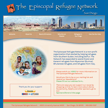 Image of The Episcopal Refugee Network website home page