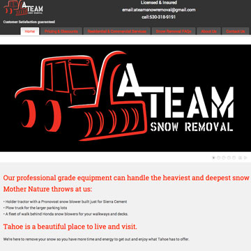 Image of A-team snow revoval website home page